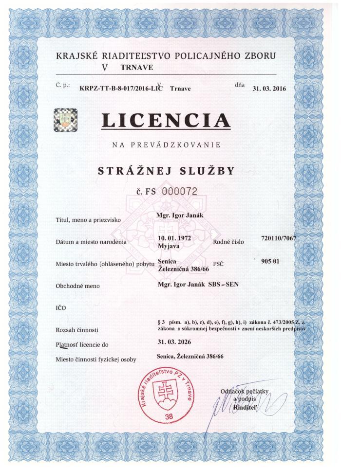 licencia straznej sluzby sbs-sen senica