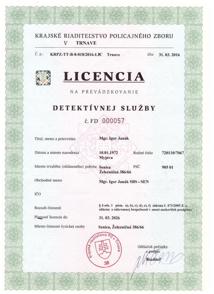 licencia detektivnej sluzby sbs-sen senica